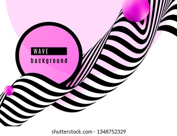 Abstract background design with stripe wave black and white lines, pink sphere shape, circle, frame. 3d optical motion simple fashion pop art. Vector illustration.