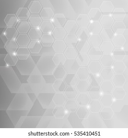 Abstract background design with transparent hexagons
