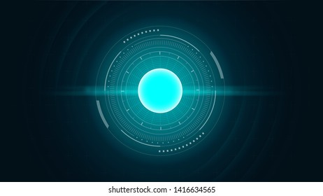 Abstract Background with digital circle in cyan tone. Illustration about Circuit system and  concept.
