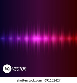 Abstract background digital energy sound music equalizer with colored rainbow lights backdrop. Vector illustration.