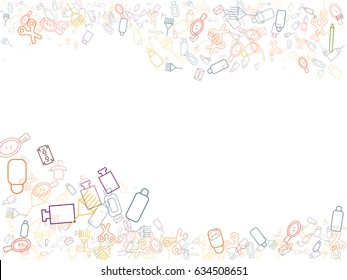 Abstract background for documents on hairdressing and hair care. Icons scissors, brushes, combs, bottles, brushes, hair dyes, mirrors, razors, hair care products