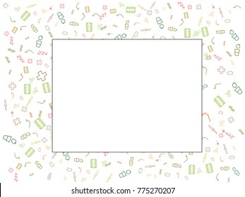 Abstract background for documents on the subject of sore throat. Color vector illustration of medicine, pipette, tea with lemon, silhouette of face.