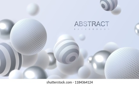 Abstract background with dynamic 3d spheres. White and silver bubbles. Vector illustration of balls textured with striped pattern. Modern trendy banner or poster design