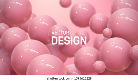 Abstract background with dynamic 3d spheres. Plastic soft pink bubbles. Vector illustration of glossy balls. Bouncing particles. Modern trendy banner or poster design