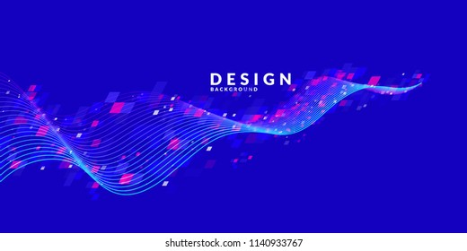 Abstract background with dynamic particles. Vector template for design.