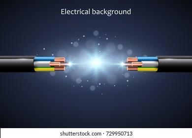 Abstract background with electrical cables, vector illustration