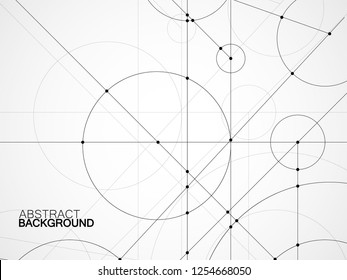 Abstract background of engineering drawing. Technological wallpaper made with circles and lines. Geometric design. Vector