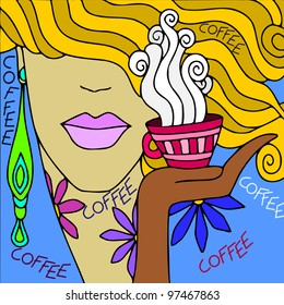abstract background with face to coffee