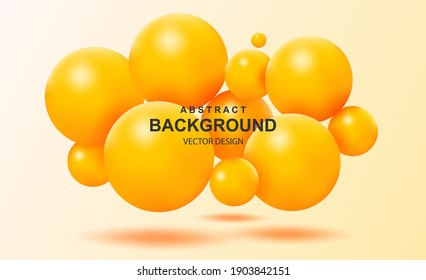 Abstract background with falling 3d orange balls. Dynamic flying colorful bubbles, futuristic composition with glossy spheres. Modern trendy banner or poster design. Realistic vector illustration.