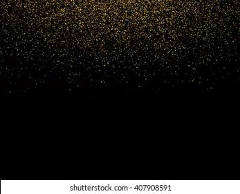 Abstract background with falling confetti, golden confetti, round confetti pieces
