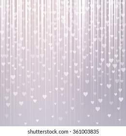 Abstract background with falling hearts