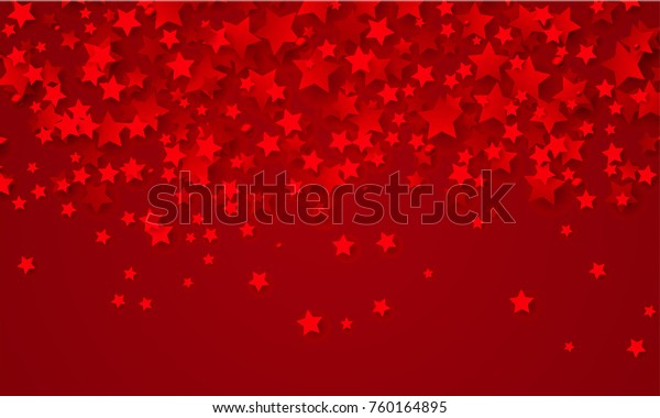 Abstract background of falling red stars on red paper. Glitter pattern for Christmas and New Year card, invitation for dinner, paper packaging. Vector illustration.