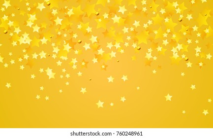 Abstract background of falling yellow stars on yellow paper. Glitter pattern for Christmas and New Year card, invitation for dinner, paper packaging. Vector illustration.