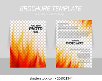 Abstract background with flame for brochure template presentation page design