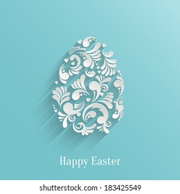 Abstract Background with Floral Easter Egg, Trendy Design Template