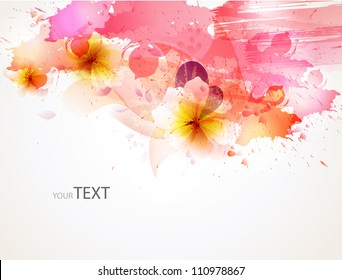 abstract background with flower   blots. floral cards for design
