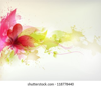 abstract Background with flower and colorful blots. Vector design