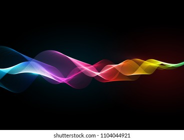 Abstract background of flowing lines in rainbow colours