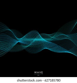 Abstract background. Flowing particle waves