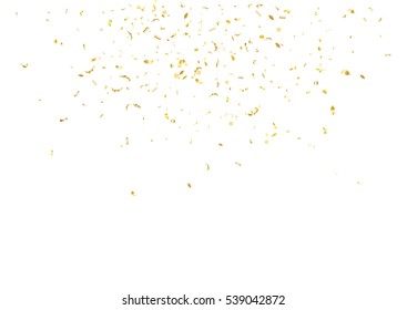 Abstract background with flying subtle golden gradient confetti. Vector illustration isolated on white background. Blank holiday template.