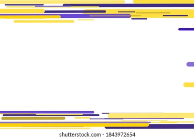 Abstract background frame colorful yellow and blue lined edges design. Empty white space template with colorful edges, creative striped frame poster, placard, banner or wallpaper frame