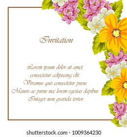 abstract background frame of flowers. For design postcards, greeting, invitation for a birthday, wedding, party, holiday, celebration. For the decoration. Vector illustration