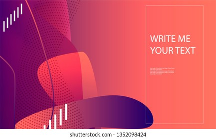 Abstract background futuristic elements on living coral color banner geometric purple gradient texture with lines in the style minimalism