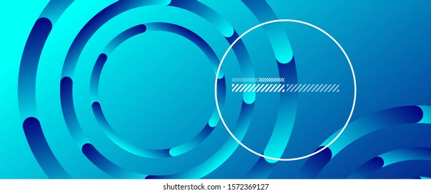 Abstract background. Geometric circles and fluid gradient. Line design, technology hi-tech digital illustration. Vector Illustration For Wallpaper, Banner, Background, Card, Book Illustration, landing