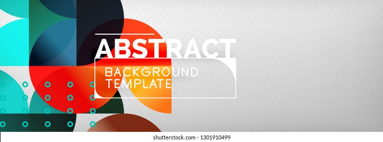 Abstract background, geometric composition, dynamic circles and round shapes design template, vector illustration