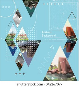 abstract background with geometric elements and landscape. Composition with triangles. Modern banner, message presentations or identity layouts