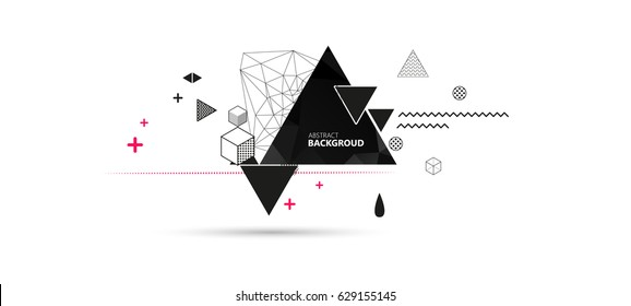 Abstract Background. Geometric elements memphis in the style of 80's. Vector illustration.
