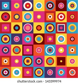 Abstract Background - Geometric Seamless Pattern. Colorful circles and squares.