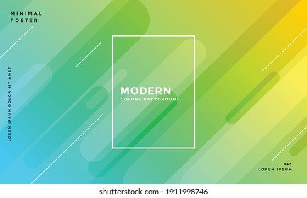 Abstract background with geometric shapes. Dynamic abstract composition Vector illustration. Design element for web banners, posters, green and yellow Wide geometric background.