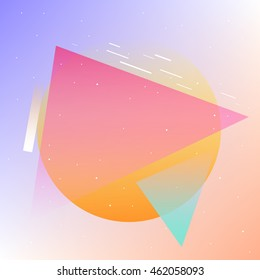 Abstract background with geometric shapes with gradients and candy colors.