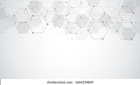 Abstract background with geometric shapes and hexagon pattern. Vector illustration for medicine, technology or science design