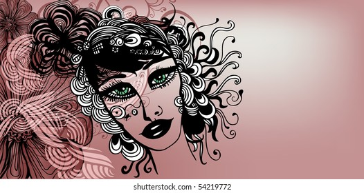 abstract background with girl drawing