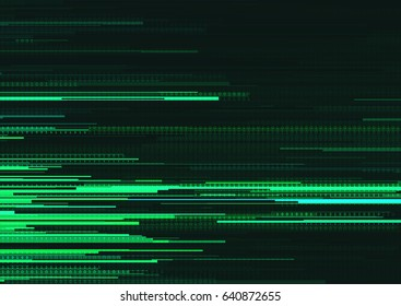 Abstract background with glitched horizontal stripes, stream line binary code background with two binary digits 0 and 1. Concepts of aesthetics of signal error, computer coding, hacker, encryption.