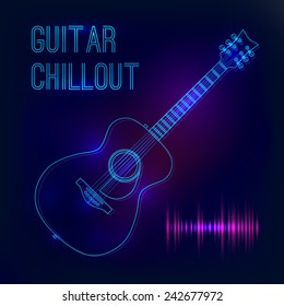 Abstract background with glowing acoustic guitar. Poster for a concert or nightclub.