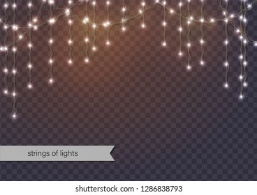 Abstract background with glowing lights. Hanging strings of lights