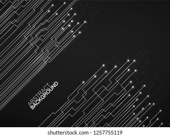 Abstract background of glowing lines and dots. Technology neon geometric graphic. Vector
