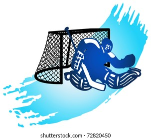 Abstract background with goalkeeper and goal. Vector illustration.