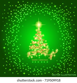 Abstract background with gold christmas tree and stars. Illustration in green and gold colors. Vector illustration.