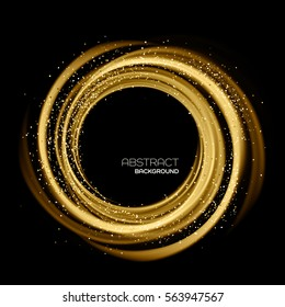 Abstract background with gold luminous swirling backdrop. Glowing spiral. Vector illustration