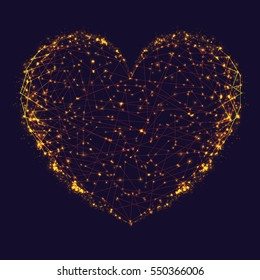 Abstract background of gold molecular heart shape. Illustration of modern vector atomic heart. Heart made with connected dots, triangles light background. Happy Valentine's Day
