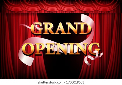 abstract background of golden grand opening banner with red curtain and ribbon