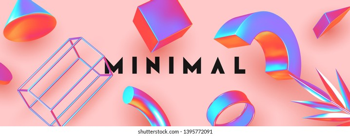 Abstract background with gradient geometric elements. Objects 3d shape vector minimal poster