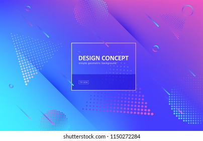 Abstract background, gradient geometric vector design. Graphic pattern in minimal style. Dynamic motion backdrop with line, shadow, geometrical shapes