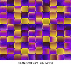 Abstract background. Gradient transparent tiles with grunge effect. Bright multicolored pattern.