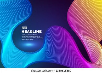 Abstract background with gradually glowing wavy lines