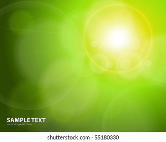 Abstract background green blurry lights, vector
